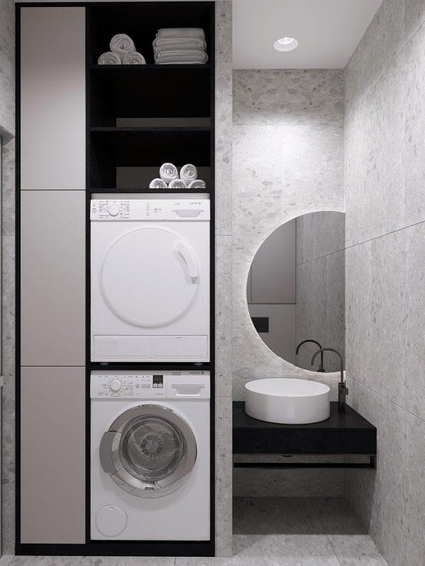 unique-vanity-mirror-600x800 Black, White & Beige Apartment For The Fashionista