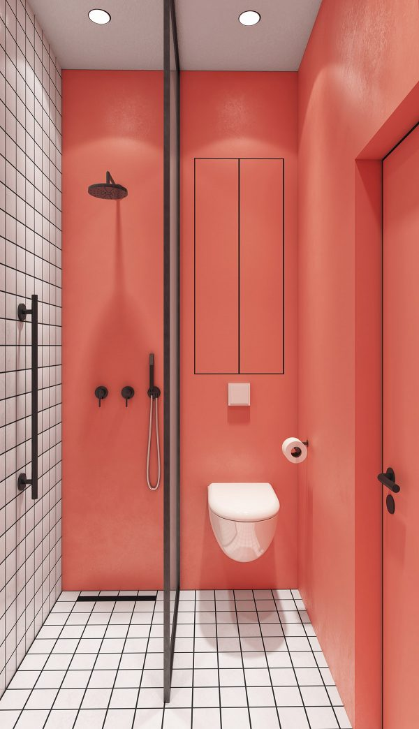 vibrant-pink-accent-wall-in-bathroom-600x1044 Modern Minimalist Apartment Designs Under 75 Square Meters (808 Square Feet) Upholstery in Victoria