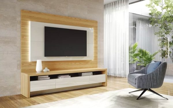 """51/"""" TV Stand Media Storage Cabinet w//LED Light  Glass Shelves Console RC White"""