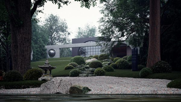 A Terraced Japanese Garden House Filled With Sculptural Art Free
