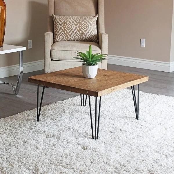 طاولة القهوة الخشبية ذات ارجل حديد