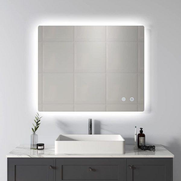 51 Bathroom Mirrors To Complete Your, Herman Modern Contemporary Beveled Bathroom Vanity Mirror