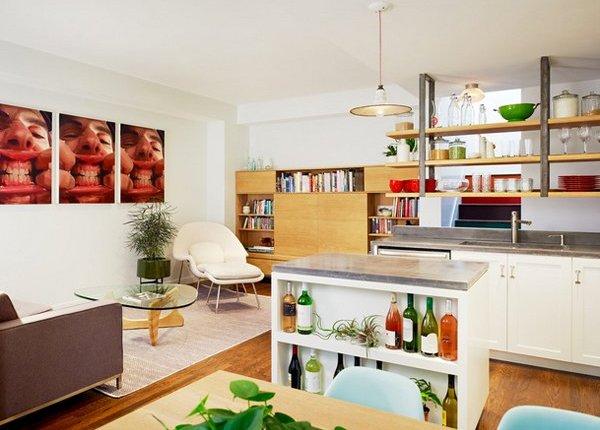 mid century modern walnut kitchen