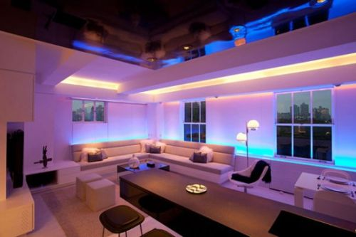 apartment with mood lighting