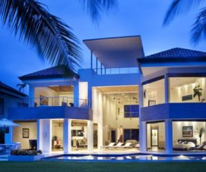 White Sea House With A Modern Architecture