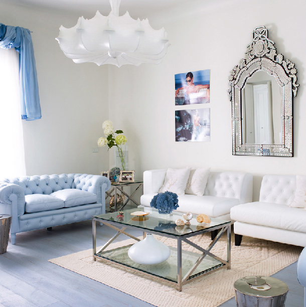 Color Forecast Pantone Spring Summer 2014 Placid Blue Living Room Couch Wall Mirror White Chandelier Hardwood Floors Area Rug