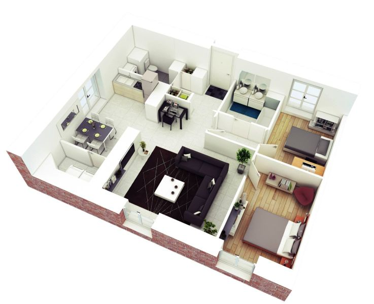 Understanding 3D Floor Plans And Finding The Right Layout For You 2 bedroom floor plans