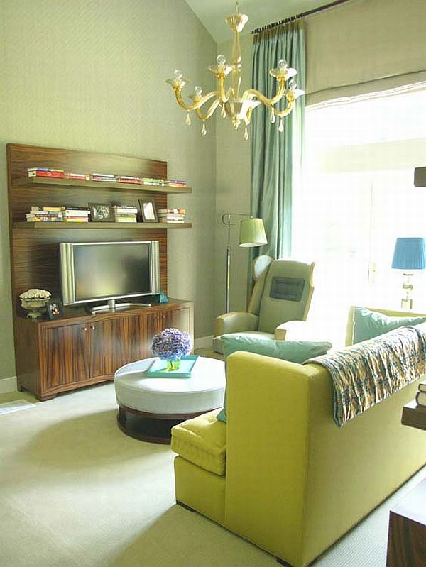 Bold Green Sofa Along With The Timeless Platner Armchair In Living Room Design