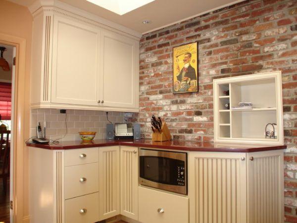 Rustic brick kitchen backsplash. rustic white brick backsplash ...