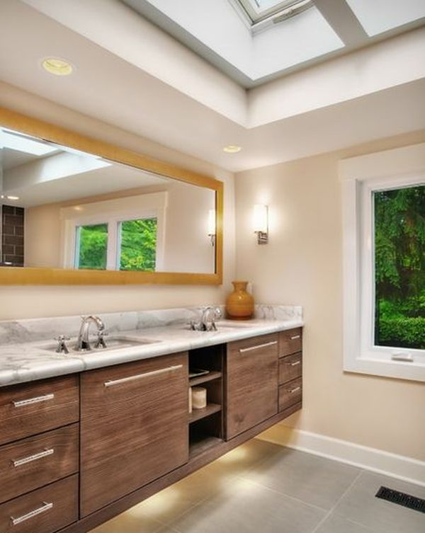how to take advantage of floating vanities to make bathrooms spacious