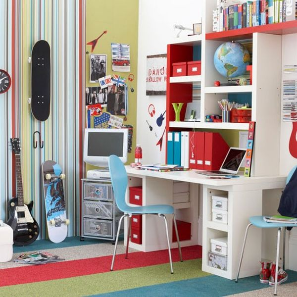Boy S Bedroom With Painted Walls And Wooden Furniture View