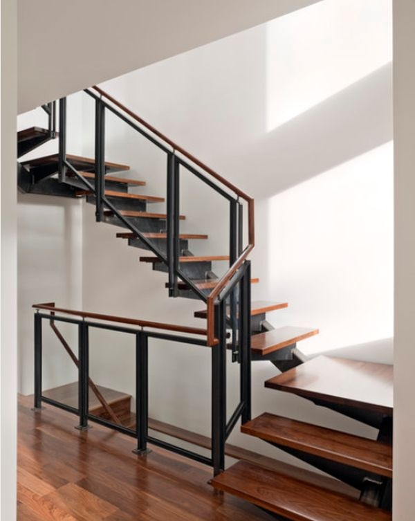 Modern Handrail Designs That Make The Staircase Stand Out   Steel And Wood Staircase Design   Inside   Outdoor   Detail   Wooden   Metal