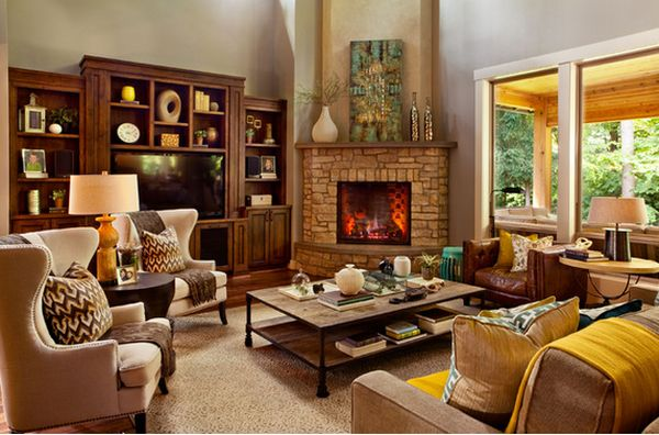Charming 100 Fireplace Design Ideas For A Warm Home During Winter. Living Room With Fireplace  Decorating ... Part 30
