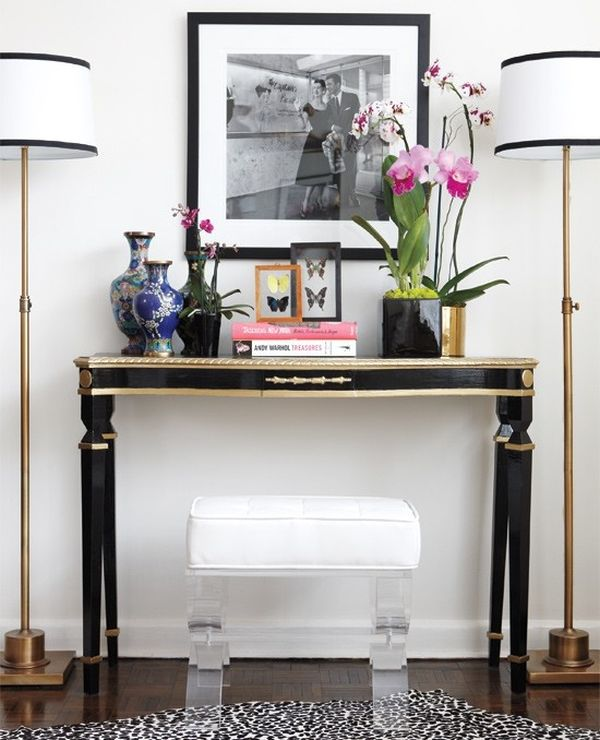 how to decorate a console table top