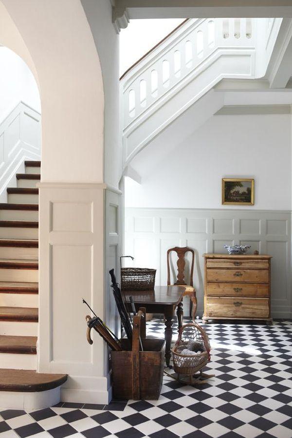 kitchen with black floor tiles