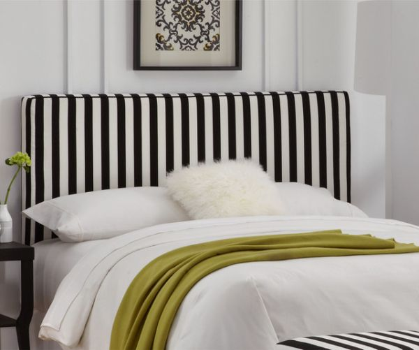 Ideas for Bedrooms Black and White Striped Headboard Wall Art Plant Decor