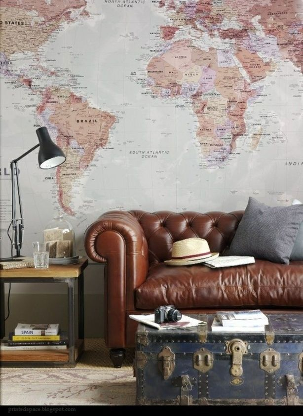 Steampunk Interior Design Living Room Leather Couch Vintage Map Accent Wall  Trunk Table