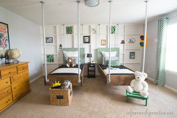 Give the hanging beds some industrial flair by using pipes instead of rope