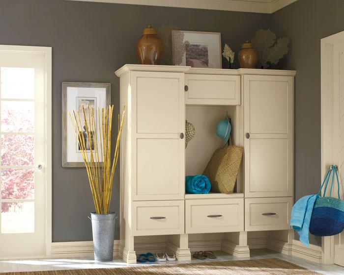 entryway white cupboards storage Narrow Kitchen Storage