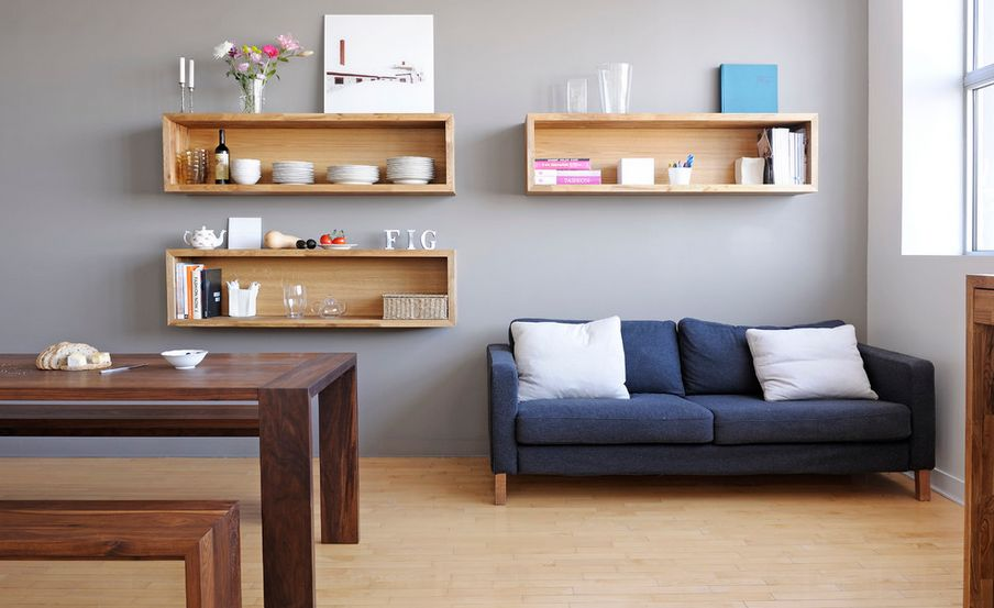 Living Room Designs. Wall Mounted Box Shelves A Trendy Variation On Open Part 86