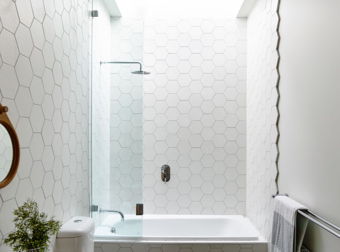 Hexagon Tiles Large White Honeycomb Tile in Bathroom Plants Wall Mirror Modern Design