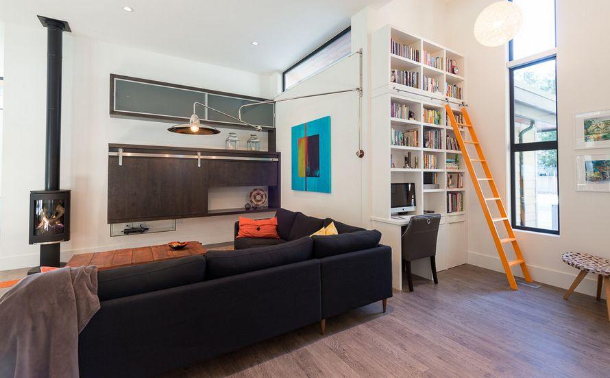 si los estantes de su biblioteca local se extiende hasta el techo o es muy alto tiene sentido prctico y hermoso para incorporar una escalera rodante en el