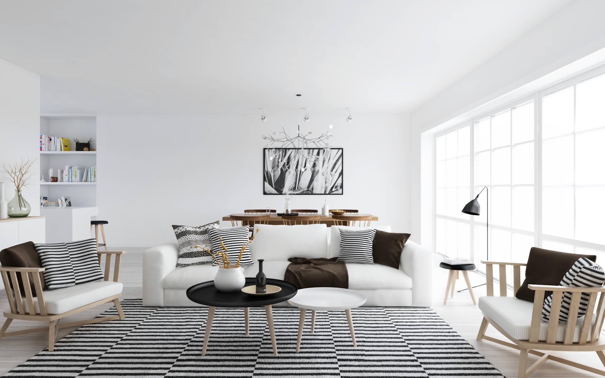 black and white look nordic decor