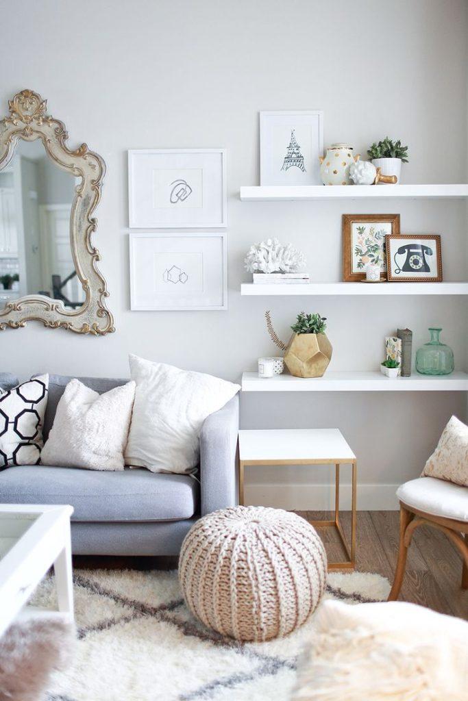 Floating White Shelves For Living Room Home Decorating