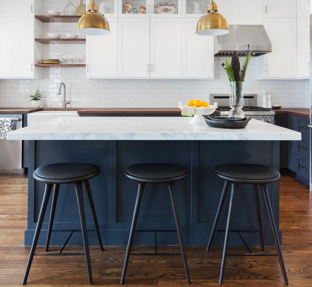 Black and White Bar Stools     How To Choose And Use Them Blue cobalt kitchen island with black chairs