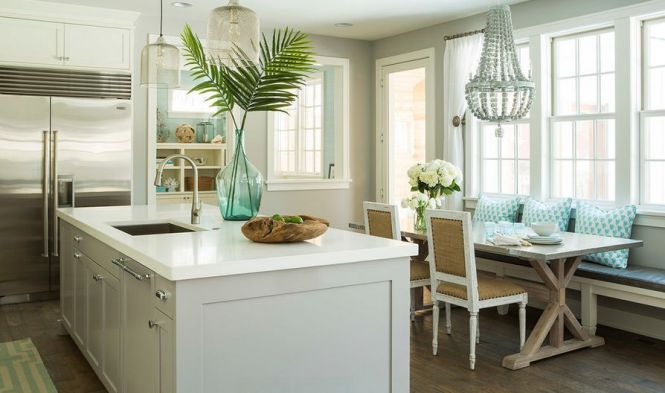 Corner Bench In Kitchen With Beaded Chandelier For Light