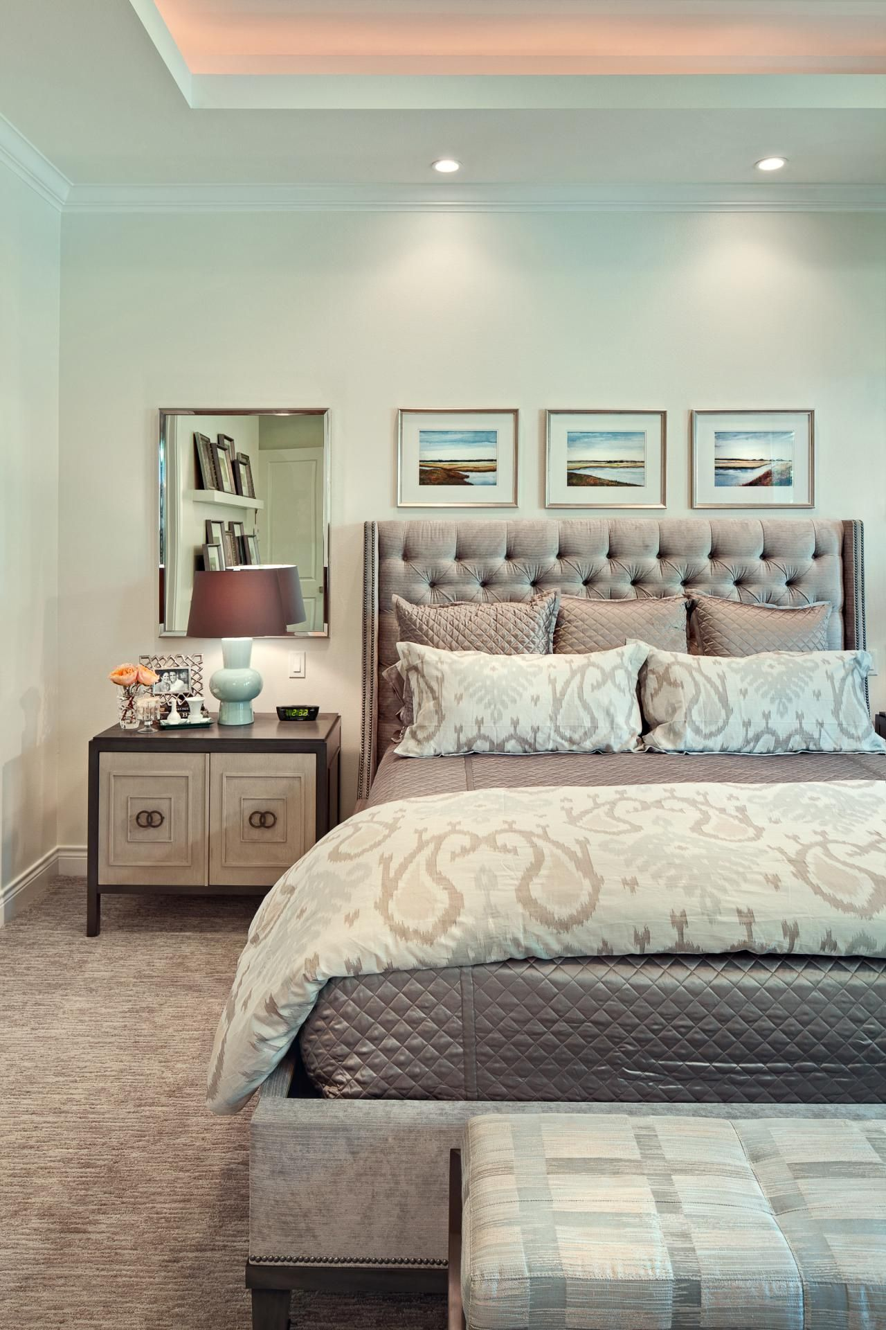 Master Bedroom Tray Ceiling And Framed Art Above Bed