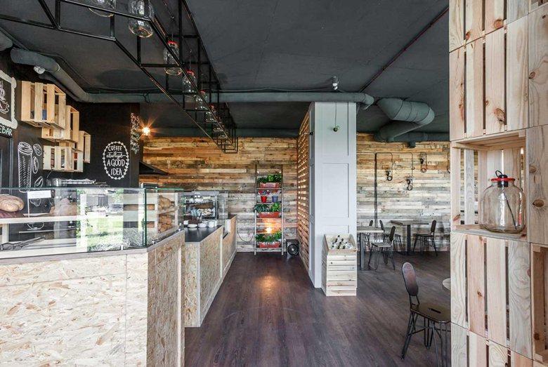 Penka coffee bar use of wood throughout