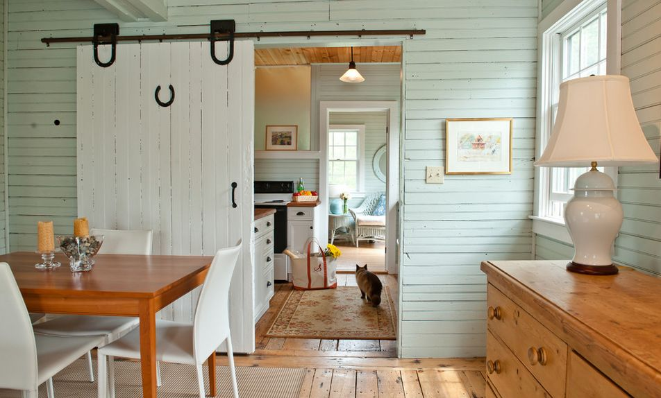 White painted barn sliding door