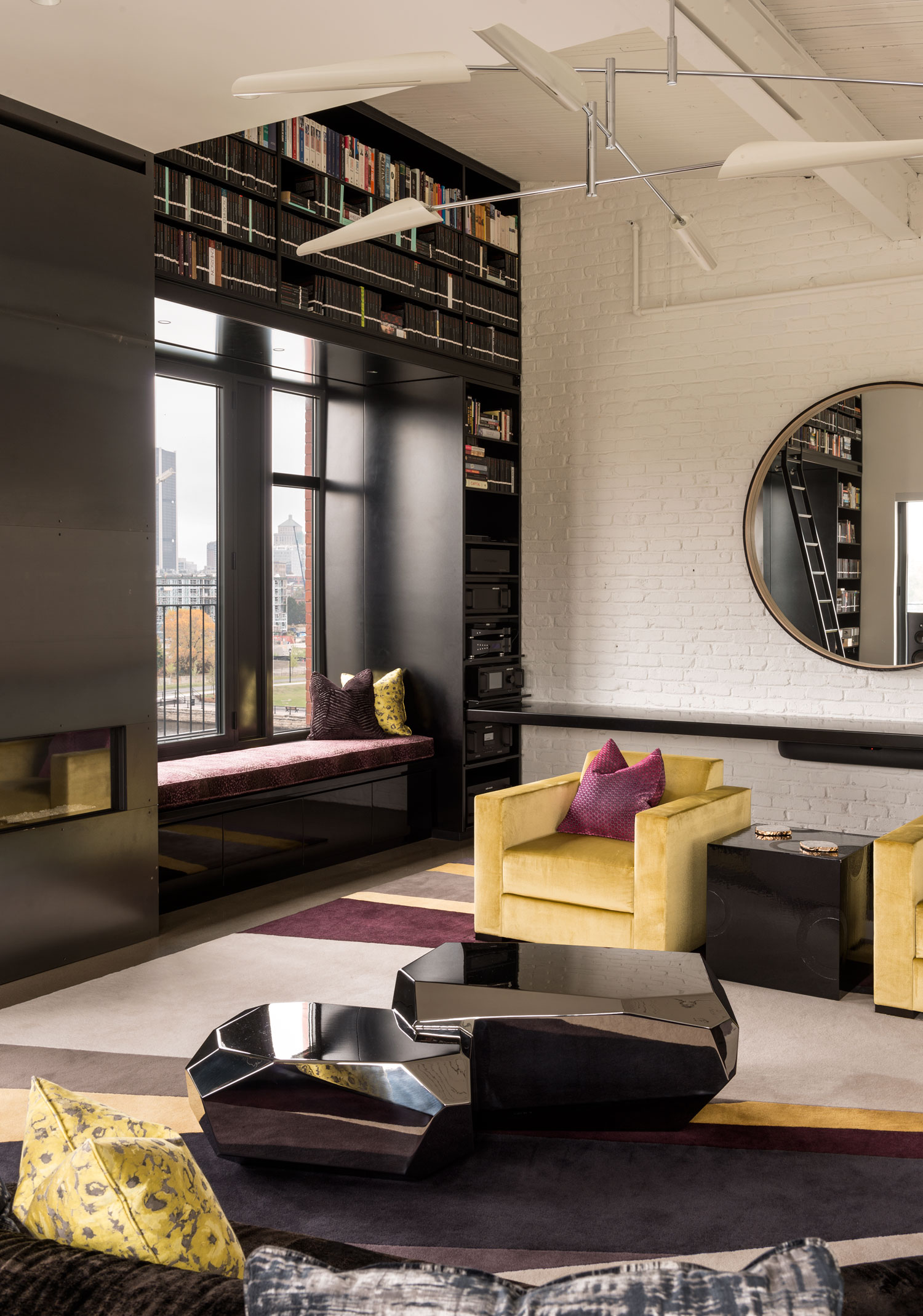 Redpath residence living area round mirror
