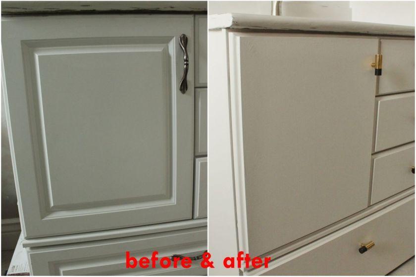 DIY Upgrade Bathroom Vanity- before and after