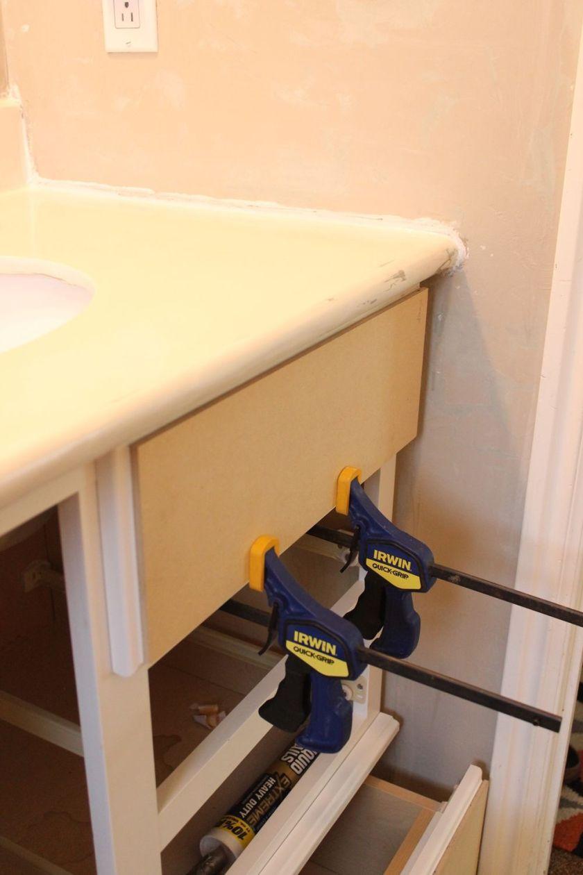DIY Upgrade Bathroom Vanity- continue the process