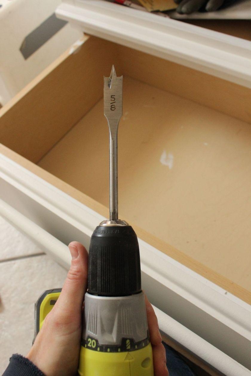 DIY Upgrade Bathroom Vanity- drill spade