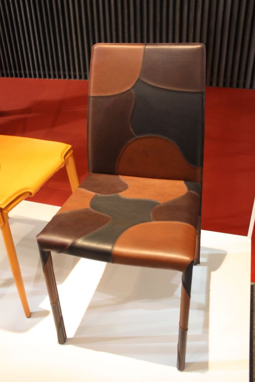 """Leather dining chairs are also very popular. This multicolored leather style, called """"Patchwork"""" is from Airnova."""