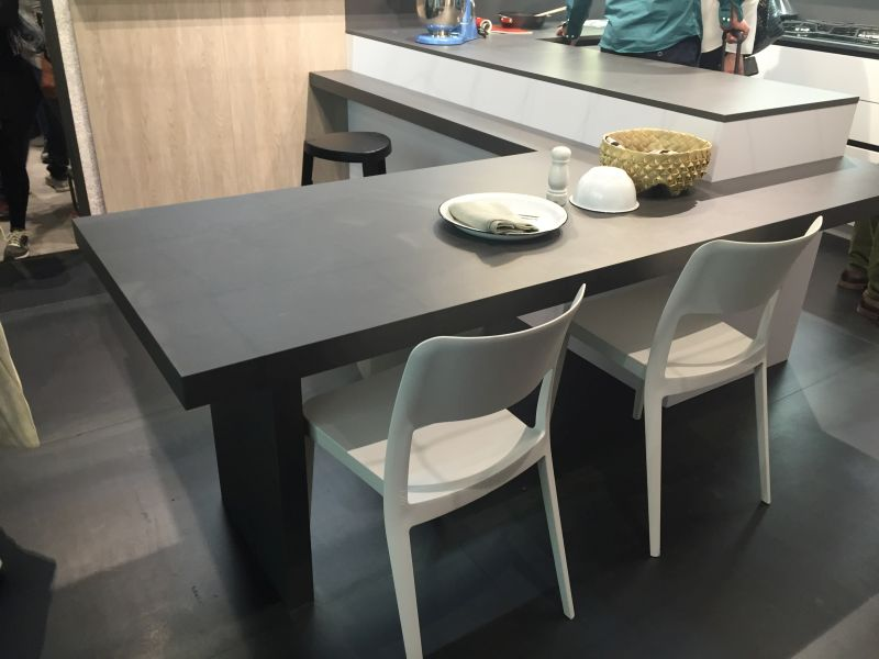 Black kitchen island with chairs