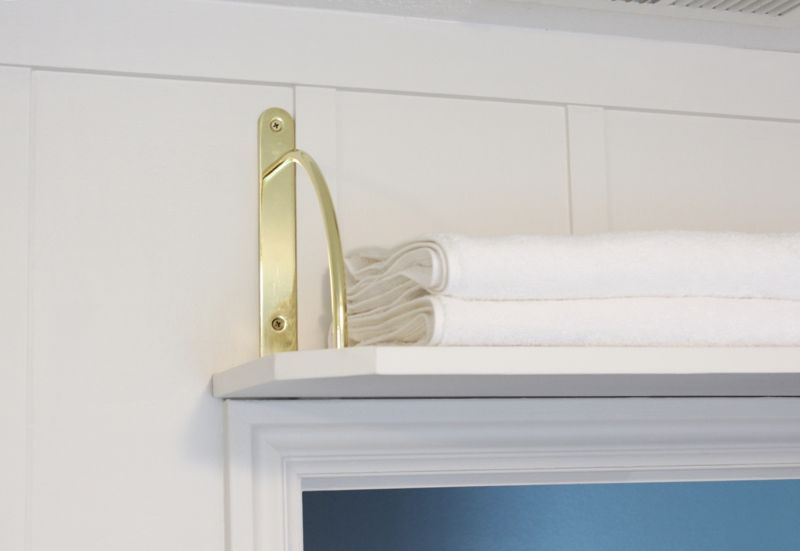 DIY Above Door Shelf with gold brackets