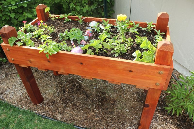 DIY Raised Wood Flower Box