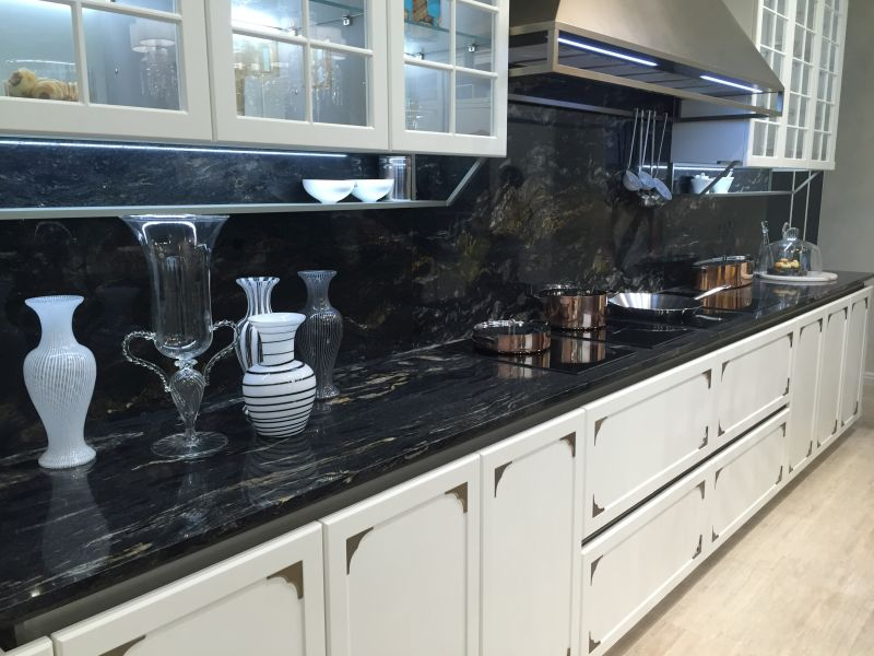 Dark marble backsplash