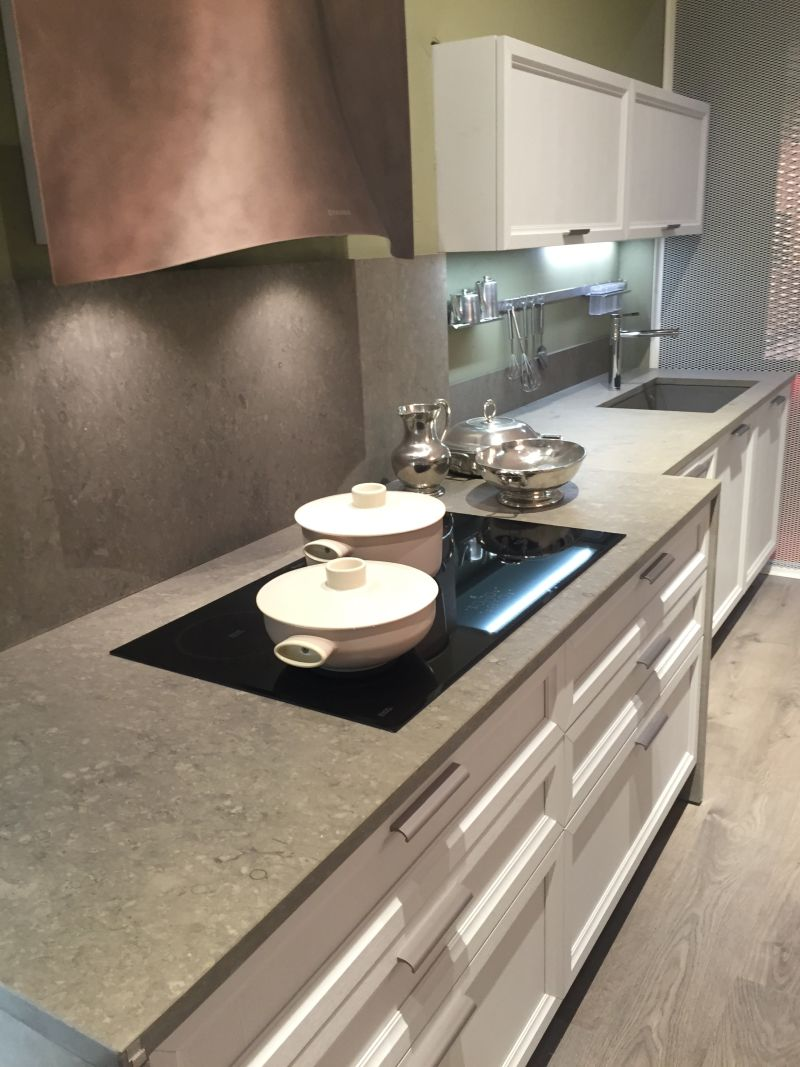 Grey marble design for countertop and backsplash