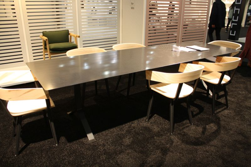 Large rectangular dining table with a metalic vibe