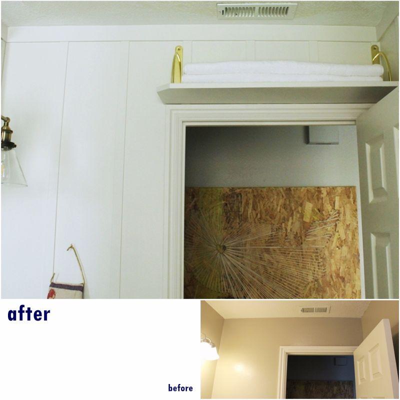 Storage above the door in bathroom