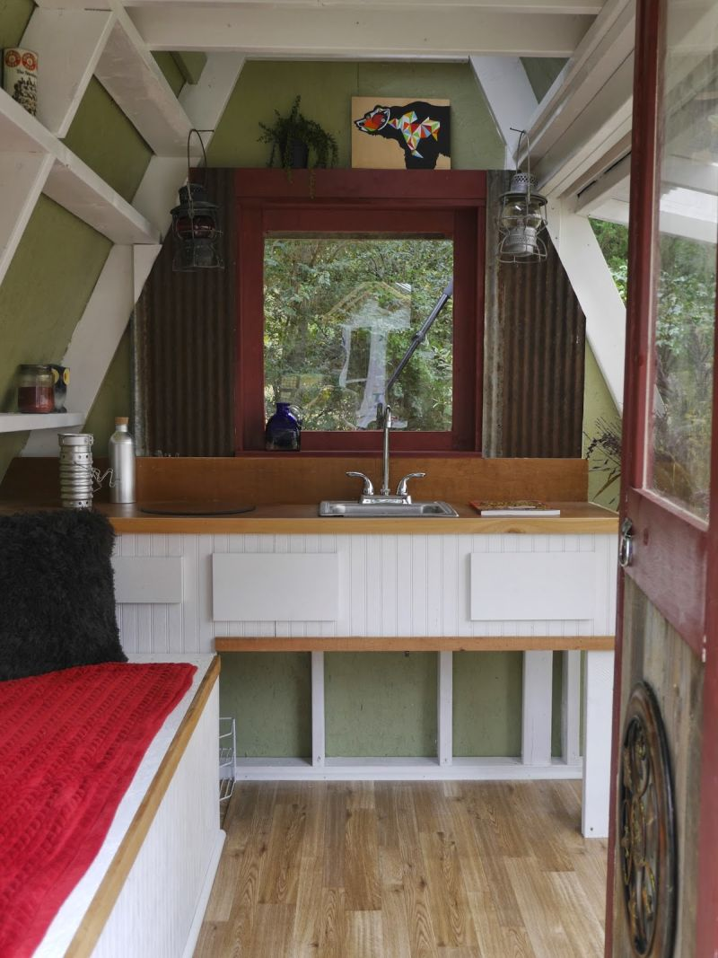 A frame small cabin interior