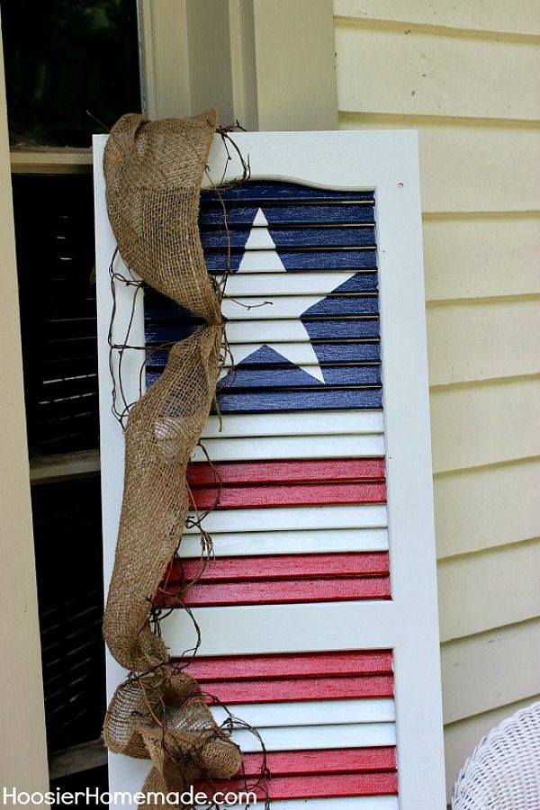 Colorful and festive patriotic window shutters painted