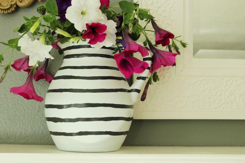 DIY Hand Painted Striped Vase Craft