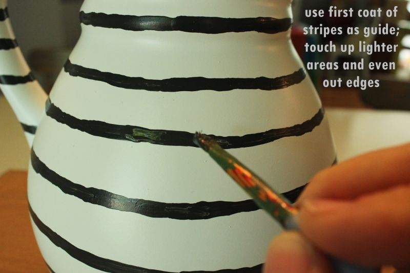 DIY Hand Painted Striped Vase-finish
