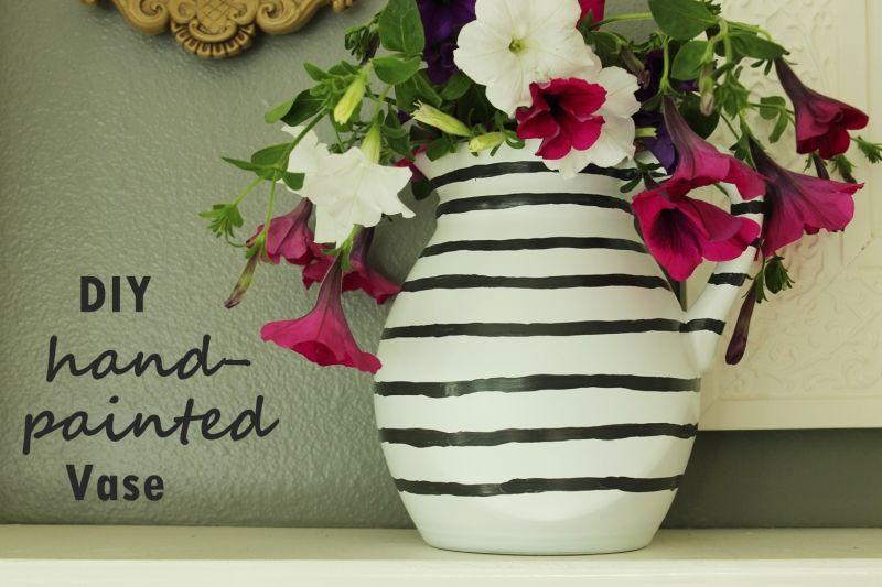 DIY Hand Painted Striped Vase